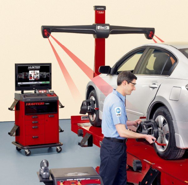 technician performing an alignment